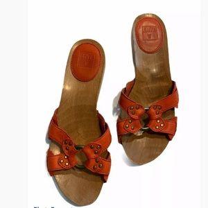 Frye upper leather slide sandals wedge